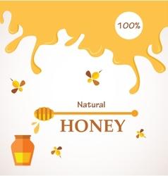 Natural honey honey streams jar and bees isolated vector