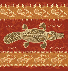 Platypus and fish tribal pattern vector