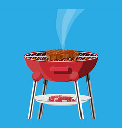 Round barbecue grill bbq icon electric grill vector