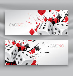 Set of casino banners with dices and abstract ink vector