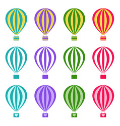 Set of hot air balloons on white background vector