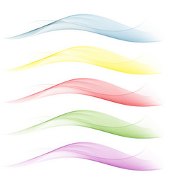 set of wavesblueyellowredgreen background vector image vector image