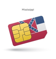 State of mississippi phone sim card with flag vector