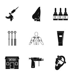 tattoo salon specialist icon set simple style vector image