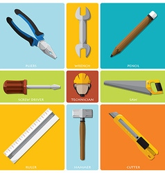 Technician and equipment tools flat icon set vector