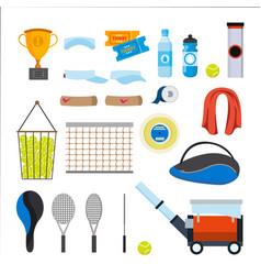 tennis icons set tennis accessories vector image