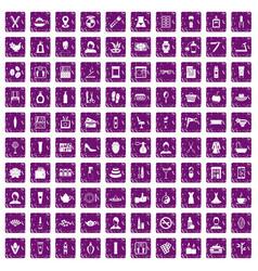 100 beauty salon icons set grunge purple vector image vector image