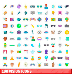 100 vision icons set cartoon style vector