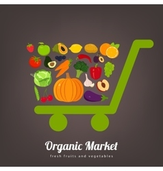 Shopping basket with fruits and vegetables icons vector