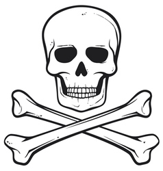 Skull with crossed bones - pirate symbol vector