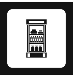 Refrigerator showcase with dairy products icon vector