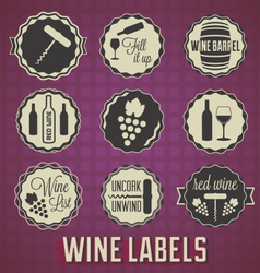 Vintage style wine labels and icons vector