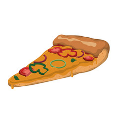 Pizza slice vegetables cheese vector