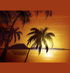 Orange tropical sunset vector