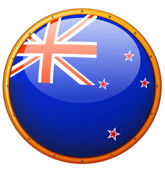 Flag of new zealand in round frame vector