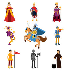 Medieval characters in the historical costumes of vector