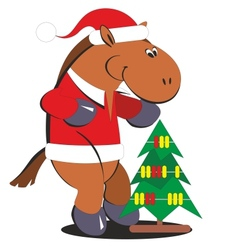 Cartoon horse with a christmas tree 010 vector