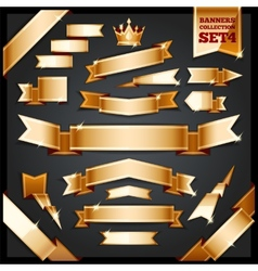 Golden Ribbons Banners Collection Set4 vector image