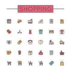 Colored shopping line icons vector