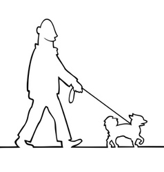man walking the dog vector image