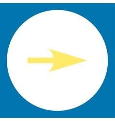 Arrow axis x flat yellow and white colors round vector