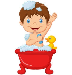 Cartoon child taking a bath vector