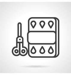 Scissors and paper line icon vector image