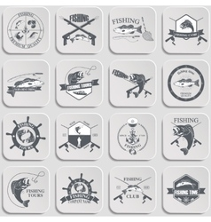 Set of vintage fishing labels badges and design vector