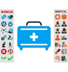 First aid toolkit icon vector