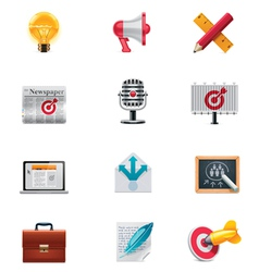 marketing icon set vector image
