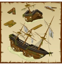 Wreck of the ancient ship and its wreckage vector