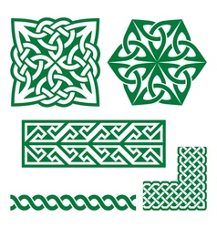 Celtic Irish green patterns and knots -  St vector image