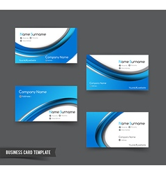 Business card template set 50 blue curve element vector