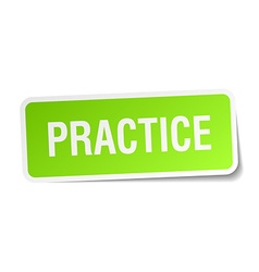 Practice green square sticker on white background vector