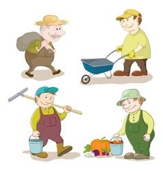 Cartoon gardeners work vector
