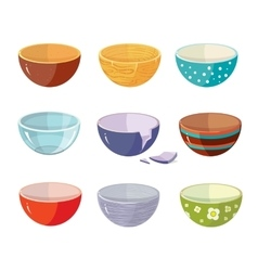 Set of empty soup plates with different vector