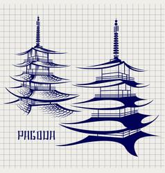 ballpoint pen pagoda sketch vector image