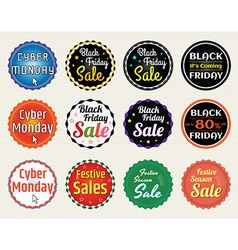 Banner label badge Black Friday Cyber Monday vector image vector image