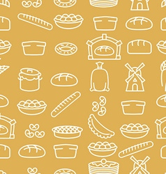 Bread and bakery products seamless pattern bakery vector