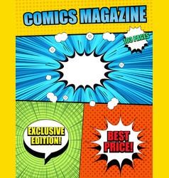 Bright comics magazine cover template vector