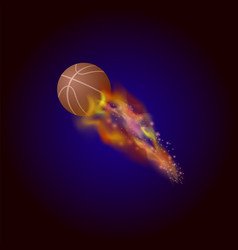 burning basketball orange ball icon vector image vector image