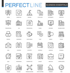 business essential thin line web icons set vector image vector image