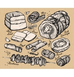 Butcher shop meat hand-drawn sketches of food vector
