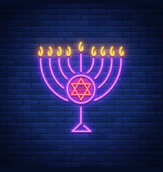 chanukah design - happy hanukkah neon sign vector image