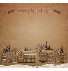 Christmas landscape european houses in the winter vector