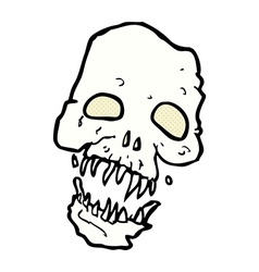 Comic cartoon scary skull vector