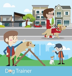 Dog trainer training vector