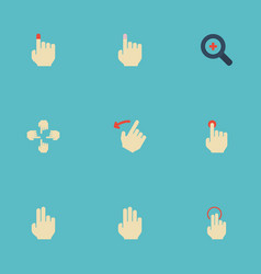 Flat icons hold rearward sensory and other vector