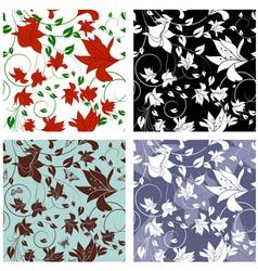 Floral Seamless Color Set vector image