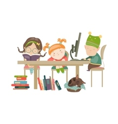 Friends doing homework vector image
